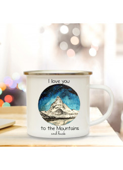 Emaille Becher Camping Tasse mit Berg Sternenhimmel & Spruch I love you adventurers Kaffeetasse Geschenk Kaffeebecher eb69