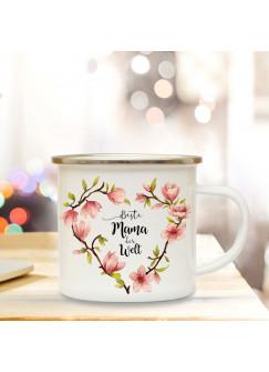 Emaille Becher Camping Tasse mit Blumen Blüten Herz & Spruch beste Mama der Welt Kaffeetasse Geschenk Kaffeebecher eb70