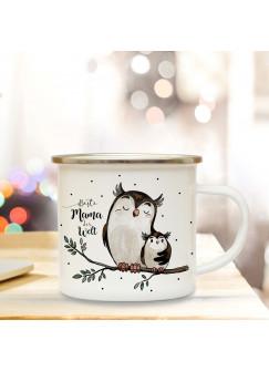 Emaille Becher Camping Tasse mit Eulen Eulchen & Spruch beste Mama der Welt Kaffeetasse Geschenk Kaffeebecher eb71