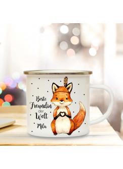 Emaille Becher Camping Tasse mit Fuchs & Spruch beste Freundin der Welt mit Name Kaffeetasse Geschenk Kaffeebecher Wunschname eb72