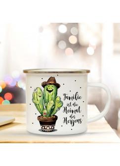 Emaille Becher Camping Tasse mit Kaktus Kakteen & Spruch Familie ist Heimat des Herzens Kaffeetasse Geschenk Kaffeebecher eb74