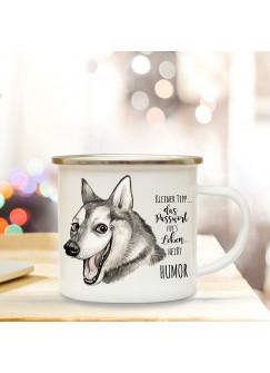 Emaille Becher Camping Tasse mit Husky & Spruch Passwort Humor Kaffeetasse Geschenk Kaffeebecher eb76