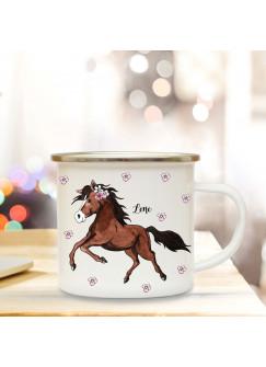 Emaille Becher Camping Tasse mit Pferd Pferdchen & Name Kaffeetasse Geschenk Kaffeebecher eb77