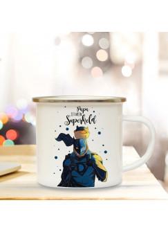 Emaille Becher Camping Tasse mit Superherld & Spruch Kaffeetasse Geschenk Kaffeebecher eb78
