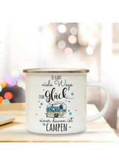 Emaille Becher Camping Tasse mit Camper Van & Spruch viele Wege zum Glück... Kaffeetasse Geschenk Kaffeebecher eb93