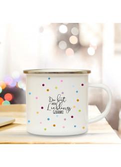 Emaille Becher Camping Tasse mit Spruch mein Lieblingsgedanke Kaffeetasse Geschenk Kaffeebecher eb98
