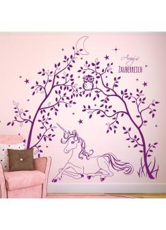 Wandtattoo Einhorn mit Bäumen Zauberreich Eule Sterne Mond Wunschname M1631