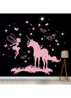 Wandtattoo Einhorn Fee mit Schmetterlingen und fluoreszierenden Sternen M2018