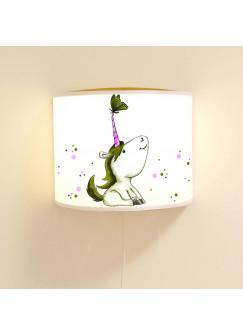 Wandlampe Schlummer-Lampe Lese-Schlummerlicht Einhorn mit Schmetterling und Punkten Ls34
