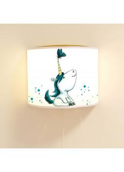 Wandlampe kinderlampe Schlummer-Lampe Lese-Schlummerlicht Einhorn mit Schmetterling und Punkten Ls35