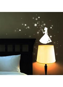 Eiskönigin Prinzessin Frozen Sterne Schneeflocken fluoreszierend M1663