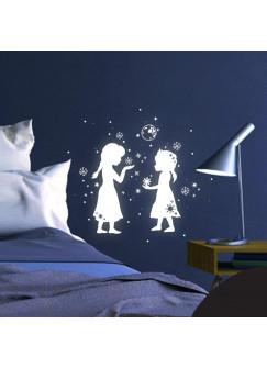 Schneekönigin Prinzessin Frozen Sterne Schneeflocken fluoreszierend M1662