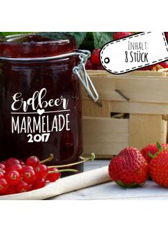 Aufkleber für Marmelade Etikett Marmeladenglas Erdbeer Konfitüre ek01