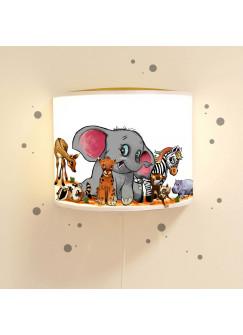 Wandlampe Kinderlampe Leseschlummerlampe Leselampe Schlummerlicht Wandlampe Wildtiere Elefant Zebra Nilpferd mit Wandtattoo Ls33