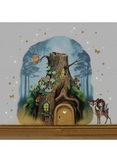 Elfentür aus Echtholz mit zauberhaftem Baumhaus in geheimnisvollem Zauberwald mit Elfe Anouki, Rehlein Belli, Eichhörnchen Bo und Eisvogel e15