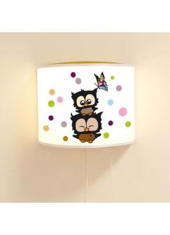 Wandlampe Schlummer-Lampe Lese-Schlummerlicht Eulen Konfetti mit Schmetterling und Punkten Ls55