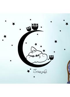 Wandtattoo Eulen auf dem Mond mit Sternen und Spruch Träum süß M776