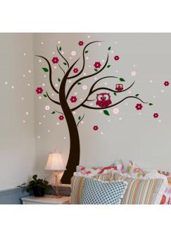 Wandtattoo Eulenbaum Baum mit Eulen Blüten und Punkten vierfarbig M802