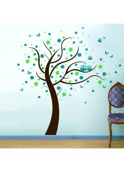 Wandtattoo Eulenbaum Baum mit Eulen Blüten Punkten und Schmetterlingen dreifarbig M801
