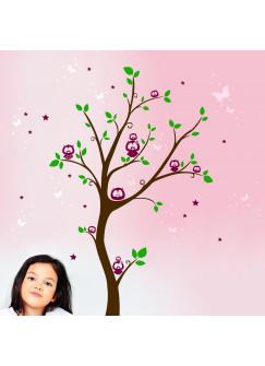 Wandtattoo Eulenbaum Eulen auf Baum mit Sternen Punkten und Schmetterlingen M934