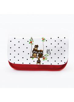 Federtasche Kosmetiktasche Eule auf Schaukel mit Schmetterling und Punkten f070