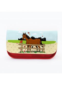Federtasche Kosmetiktasche Pferd mit Schmetterlingen und Wiese f074