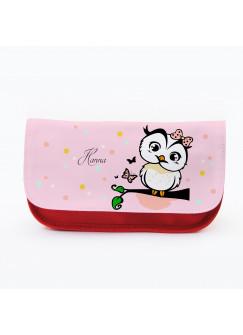 Federtasche Kosmetiktasche Eule auf Ast mit Punkten Schmetterling und Wunschnamen f082