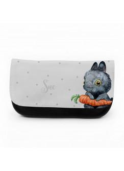 Federtasche Hase Kosmetiktasche Häschen mit Karotte & Punkte f092