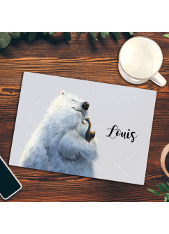 Frühstücksbrettchen Schneidebrett Frühstücksbrett Küchenbrettchen mit Eisbär Pinguin und Wunschnamen fb01