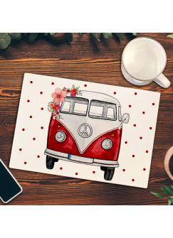 Frühstücksbrettchen Frühstücksbrett Schneidebrett Küchenbrettchen gepunktet mit Bulli Surf Bus Van fb013