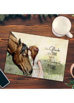 Frühstücksbrettchen Frühstücksbrett Schneidebrett Küchenbrettchen Mädchen & Pferd mit Spruch fb014