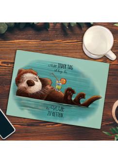Frühstücksbrettchen Frühstücksbrett Schneidebrett Küchenbrettchen Otter mit Motto Spruch fb015