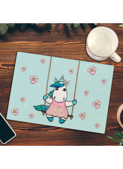 Frühstücksbrettchen Einhorn auf Schaukel Frühstücksbrett Schneidebrett Küchenbrettchen Einhornmotiv fb019