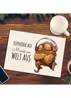 Frühstücksbrettchen Frühstücksbrett Schneidebrett Küchenbrettchen mit Musik Eule Eulchen & Spruch fb02