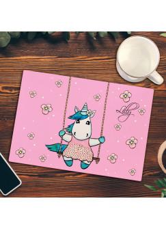 Frühstücksbrettchen rosa mit Einhorn auf Schaukel Frühstücksbrett Schneidebrett Küchenbrettchen Einhornmotiv fb020