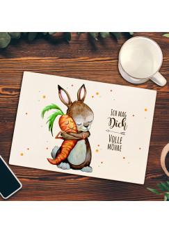 Frühstücksbrettchen Frühstücksbrett Schneidebrett Küchenbrettchen Hase & Spruch Ich mag dich volle Möhre fb03