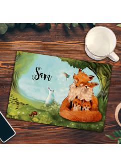 Frühstücksbrettchen Frühstücksbrett Schneidebrett Küchenbrettchen mit Familie Fuchs und Wunschnamen fb04