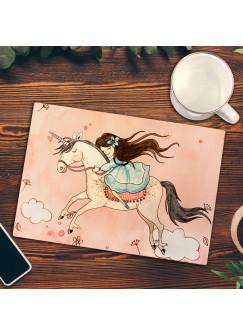 Frühstücksbrettchen Frühstücksbrett Schneidebrett Küchenbrettchen mit Mädchen auf Einhorn mit Name Wunschnamen fb05