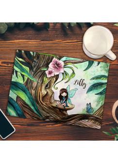 Frühstücksbrettchen Frühstücksbrett Schneidebrett Küchenbrettchen mit Elfe Fee im Wald & Name Wunschnamen fb06