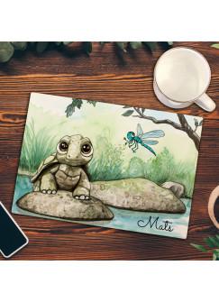 Frühstücksbrettchen Frühstücksbrett Schneidebrett Küchenbrettchen mit Schildkröte & Name Wunschnamen fb08