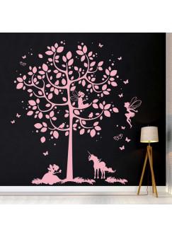 Wandtattoo Baum mit Feen Einhorn und Schmetterlingen M2015