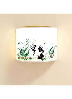 Wandlampe Schlummer-Lampe Lese-Schlummerlicht Fuchs Eule und Elfe Fee mit Blumen und Punkten Ls45