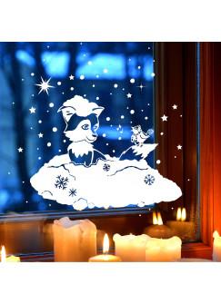 Fensterbild Fensterdeko Winterbild Winter Fuchs Vogel Schnee Schneeflocken und Sterne mit Punkten M1705