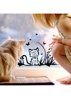 Fensterbild Katze mit Schmetterlingen auf Wiese M1371