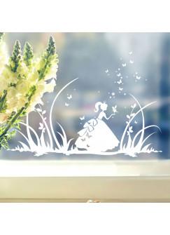 Fensterbild Prinzessin Cinderella mit Schmetterlingen M1368f