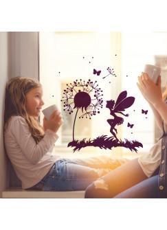 Fensterbild Fensterdeko Wandtattoo Pusteblume mit Elfe Fee Schmetterlingen und Punkten M2093