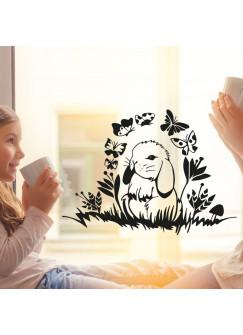 Fensterbild Fensterdeko Wandtattoo Häschen Hase mit Blumen und Schmetterlingen M2095
