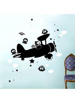 Wandtattoo fliegende Eulen mit Flugzeug Wolken und Sterne zweifarbig M930