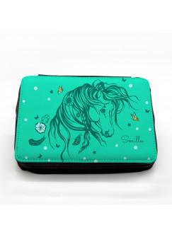 Gefüllte Federtasche Wildpferd Pferd mit Wunschnamen fm031