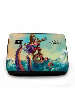 Gefüllte Federtasche Pirat und Octopus mit Wunschnamen fm059
